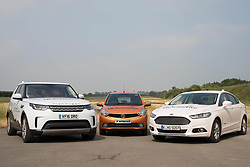 EMBARGOED TO 0001 THURSDAY JUNE 22 EDITORIAL USE ONLY Connected car research vehicles belonging to Jaguar Land Rover, Tata Motors European Technical Centre and Ford line-up during a media demonstration at the HORIBA MIRA proving ground in Nuneaton, Warwickshire.