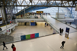 © Licensed to London News Pictures. 09/02/2020. London, UK. A less busy Waterloo station as commuters have been advised to avoid travelling due to Storm Ciara. Heavy rain and strong winds are forecast today as the Storm Ciara sweeps across the UK. Photo credit: Dinendra Haria/LNP