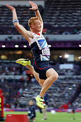 Greg Rutherford of Great Britain during the final of the men's long jump held at the Olympic Stadium in Olympic Park in London as part of the London 2012 Olympics on the 4th August 2012..Photo by Ron Gaunt/SPORTZPICS
