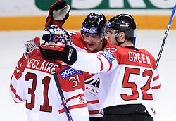 Goalkeeper Pascal Leclaire, Steve Staios and Mike Green after the ice-hockey game Canada vs Finland at Qualifying round Group F of IIHF WC 2008 in Halifax, on May 12, 2008 in Metro Center, Halifax, Nova Scotia, Canada. Canada won 6:3. (Photo by Vid Ponikvar / Sportal Images)