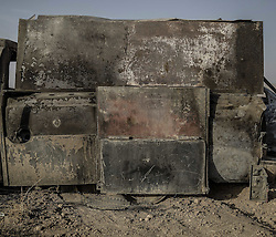 October 18, 2016 - Mosul, Iraq - IS armored vehicle welded with steel plates. The battle of Mosul. Kurdish Peshmerga and Iraqi forces managed to retake Mosul from the Islamic State (IS) (Credit Image: © AftonbladetIBL via ZUMA Wire)