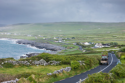 Winding Road between Atlantic coast and The Burren, Ballyvaghan, County Clare, Ireland