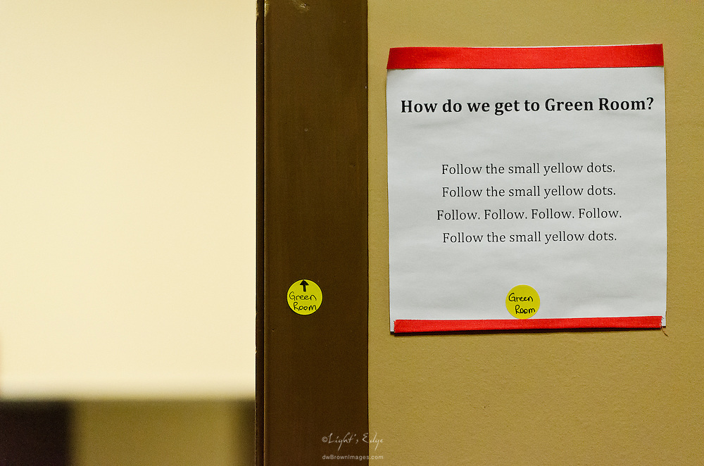A sign and markers indicate the way to the Landis Theater's Green Room.