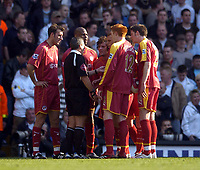 Photo: Olly Greenwood.<br />Tottenham Hotspur v Reading. The Barclays Premiership. 01/04/2007. Reading player dispute the penalty with referee Alan Wiley
