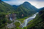 Rio Pastaza Valley.Manto de la Novia Waterfalls.Cable Car.Banos.Ecuador