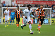 Leroy Fer of Swansea city © breaks away from David Meyler of Hull city. Premier league match, Swansea city v Hull city at the Liberty Stadium in Swansea, South Wales on Saturday 20th August 2016.<br /> pic by Andrew Orchard, Andrew Orchard sports photography.