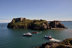 St Catherine's Island, Tenby, Pembrokeshire South Wales July 2021. Cut off from the mainland at high tide, site of a Napoleonic fort