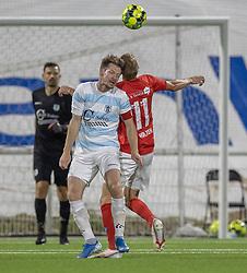 Nikolaj Hansen (FC Helsingør) og Emil Holten (Silkeborg IF) under kampen i 1. Division mellem FC Helsingør og Silkeborg IF den 11. september 2020 på Helsingør Stadion (Foto: Claus Birch).