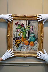 Purple Tulips by the Scottish Colourist painter George Leslie Hunter.  It is estimated at £120,000-150,000. <br /> <br /> The painting was once in the collection of Baroness Elliot of Harwood of Rulewater DBE LLD (1903-1994),one of the most colourful, Scottish figures of the last century. One of the first women to be made a Life Peer and the first Life Peeress to speak in the House of Lords, she enjoyed a long and distinguished life of public service. <br /> <br /> Hunter was a well-known landscape and portrait painter when, during the1920s, his friend and biographer Tom Honeyman encouraged him to concentrate on painting still-life. In 1925, Alex Reid Gallery held a critically acclaimed exhibition of Hunter's work, and in the same year, the artist exhibited in London alongside the other painters – Peploe, Fergusson, and Cadell – who later became known collectively known as the Scottish Colourists.