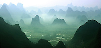 beautiful limestone karst views across the Yangshuo region