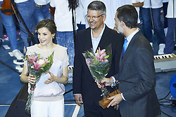 April 24, 2017 - Las Palmas De Gran Canaria, Spain - 24-04-2017 Batan Queen Letizia and King Felipe during the presentation of the 'Orchestrated neighborhoods' at El Batan Stadium in Las Palmas de Gran Canaria, Spain..No Spain.© PPE/Thorton. .Credit: PPE/face to face.- No Rights for Netherlands  (Credit Image: © face to face via ZUMA Press)