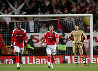 Photo: Lee Earle.<br /> Charlton Athletic v Tottenham Hotspur. The Barclays Premiership. 07/05/2007.Charlton players (L-R) Souleymane Diawara, Luke Young and Scott Carson look dejected after Tottenham's second goal.