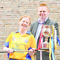 21 April 2008; Deirdre Murphy, captain of Clare, with manager Colm Hanley at a Captains Photocall ahead of the Division 1 and 2, Camogie National League Finals this weekend. Kilkenny take on Galway in the Division 1 decider in Nowlan Park on Saturday, while Derry will play Clare in the Division 2 Final. Temple Bar, Dublin. Picture credit: David Maher / SPORTSFILE *** NO REPRODUCTION FEE ***