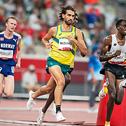 TOKYO, JAPAN August 3:   Morgan McDonald of Australia and Isaac Kimeli of Belgium in action during the Men's 5000m round one heat two race at the Olympic Stadium during the Tokyo 2020 Summer Olympic Games on August 3rd, 2021 in Tokyo, Japan. (Photo by Tim Clayton/Corbis via Getty Images)