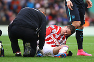 Ibrahim Afellay of Stoke City receives treatment. Barclays Premier league match, Stoke city v Manchester city at the Britannia Stadium in Stoke on Trent, Staffs on Saturday 5th December 2015.<br /> pic by Chris Stading, Andrew Orchard sports photography.