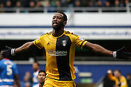 Moussa Dembele of Fulham celebrating after scoring the second goal of the game.  Skybet football league championship match, Queens Park Rangers v Fulham at Loftus Road Stadium in London on Saturday 13th February 2016.<br /> pic by Steffan Bowen, Andrew Orchard sports photography.