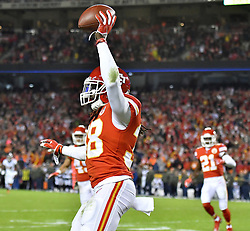 October 30, 2017 - Kansas City, MO, USA - Kansas City Chiefs free safety Ron Parker celebrates his second quarter interception during Monday's football game against the Denver Broncos on Oct. 30, 2017 at Arrowhead Stadium in Kansas City, Mo. (Credit Image: © John Sleezer/TNS via ZUMA Wire)