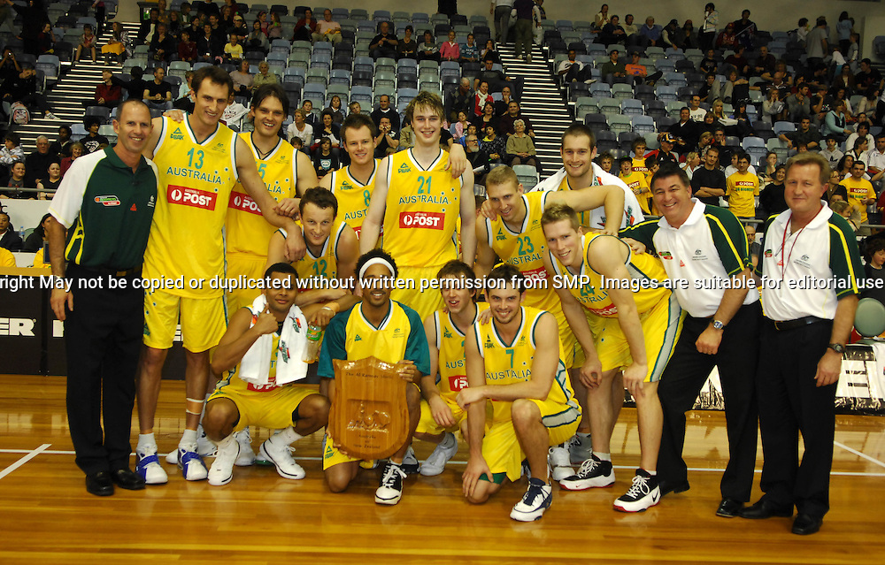 Australia Post Boomers with the Ramsay Shield, Australia Post Boomers v New Zealand, Game 2, 2008.  Played at the State Netball & Hockey Centre. Australian Post Boomers defeated New Zealand. .Photo: Joel Strickland / SMP Images.Use information: This image is intended for Editorial use only (e.g. news or commentary, print or electronic). Any commercial or promotional use requires additional clearance.