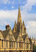 Spire of Saint Mary the Virgin church and Brasenose College, Oxford, England, UK
