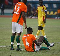 Photo: Steve Bond/Richard Lane Photography.<br />Ivory Coast v Benin. Africa Cup of Nations. 25/01/2008. Kolo Toure holds his injured groin