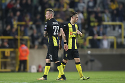 April 17, 2018 - Lier, BELGIUM - Lierse's Aurelien Joachim and Lierse's Joeri Poelmans look dejected after the Jupiler Pro League match between Lierse SK and SV Zulte Waregem, in Lier, Tuesday 17 April 2018, on day four of the Play-Off 2A of the Belgian soccer championship. BELGA PHOTO BRUNO FAHY (Credit Image: © Bruno Fahy/Belga via ZUMA Press)