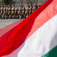 Honour guards line up for a welcoming ceremony in Budapest, Hungary on March 21, 2014. ATTILA VOLGYI
