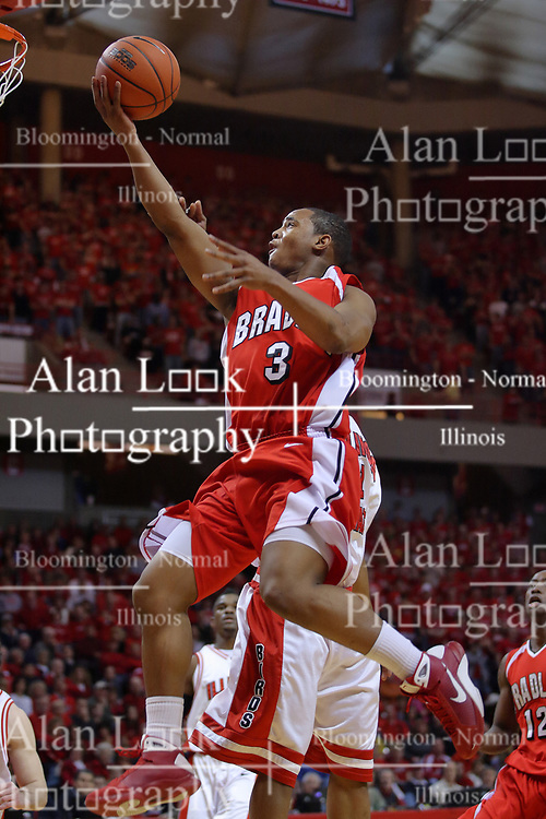 """31 January 2009: Darian Norris reaches out for the hoop, ball in hand. The Illinois State University Redbirds join the Bradley Braves in a tie for 2nd place in """"The Valley"""" with a 69-65 win on Doug Collins Court inside Redbird Arena on the campus of Illinois State University in Normal Illinois"""
