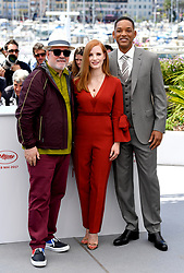 Pedro Almodovar (left), Jessica Chastain (centre) and Will Smith (right) attending the Festival De Cannes Jury photocall as part of the 70th Cannes Film Festival. Photo credit should read: Doug Peters/EMPICS Entertainment
