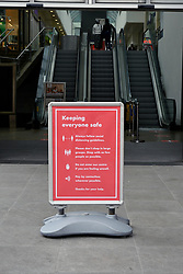 Keep Safe sign in front of Oracle Shopping Centre. Easing of Coronavirus lockdown, Reading, UK 12 June 2020