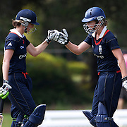 Charlotte Edwards and Beth Morgan batting during the match between England and New Zealand in the Super 6 stage of the ICC Women's World Cup Cricket tournament at Bankstown Oval, Sydney, Australia on March 14 2009, England won the match by 31 runs. Photo Tim Clayton