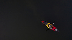 United States, Washington, Quilcene, kayaker in bay (aerial)