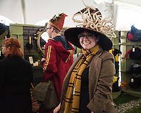 """Irene Meore dressed as """"Tonks"""" wearing the Devil's Snare hat during Misti-Con 2015 held at the Margate Resort on Saturday afternoon.  (Karen Bobotas/for the Laconia Daily Sun)"""