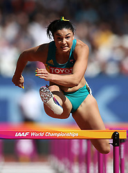 Australia's Michelle Jenneke competes in the women's 100m hurdles during day eight of the 2017 IAAF World Championships at the London Stadium. PRESS ASSOCIATION Photo. Picture date: Friday August 11, 2017. See PA story ATHLETICS World. Photo credit should read: Martin Rickett/PA Wire. RESTRICTIONS: Editorial use only. No transmission of sound or moving images and no video simulation.