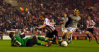 Photo. Jed Wee, Digitalsport<br /> Sunderland v Crewe Alexandra, Coca-Cola Championship, 10/08/2004.<br /> Sunderland appealed strongly for a penalty after Marcus Stewart (C) appears to bring down by Crewe's Kenny Lunt.