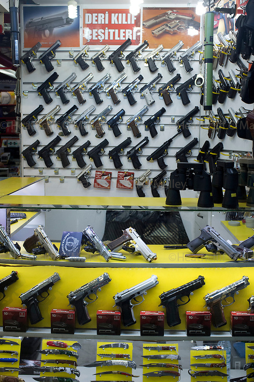 BB guns on sale in a pedestrian subway bazaar in Istanbul, Turkey...Istanbul 7 June 2012