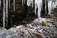Cornwall, New York - Icicles hang from a rock ledge in Storm King Mountain State Park on March 27, 2010.