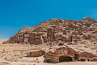 Petra, Jordan - May 10, 2013: tourists visiting Royal tombs in Nabatean Petra Jordan middle east on may 10th, 2013