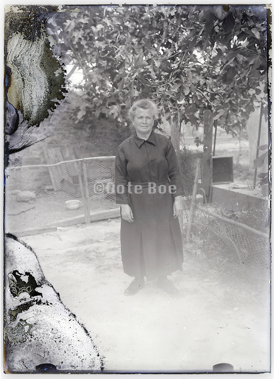 woman in backyard with chicken run in the background