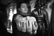 Guadalajara, jalisco. México 2009. Heblen muestra su puño, en su Bolería, reflejo de como esta subcultura ha vinculado su rebeldía contra la cultura oficial.<br /> foto giorgio viera.