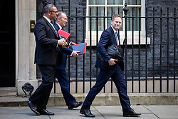 © Licensed to London News Pictures. 11/02/2020. London, UK. Secretary of State for Transport Grant Shapps (R), Secretary of State for Wales Simon Hart (C) and Minister without Portfolio James Cleverly leave 10 Downing Street after a Cabinet meeting. The Prime Minister announced that the HS2 rail project will go ahead. Photo credit: Rob Pinney/LNP