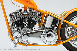 """""""Huero Loco"""", an orange '69 shovelhead built by by Trevelen Rabanal of SuperCo in Los Angeles, CA. Photographed by Michael Lichter in Sturgis SD August 3, 2016 ©2016 Michael Lichter"""