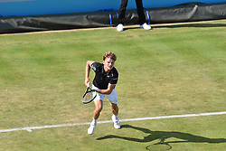 June 19, 2018 - London, England, United Kingdom - David Goffin of Belgium plays against Spain's Feliciano Lopez during the first singles match on day two of Fever Tree Championships at Queen's Club, London on June 19, 2018. (Credit Image: © Alberto Pezzali/NurPhoto via ZUMA Press)