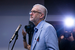 © Licensed to London News Pictures. 02/11/2019. Swindon, UK. Labour Party Leader Jeremy Corbyn speaks at Commonweal Sixth Form College in Swindon during a campaign rally ahead of the general election on 12 December. Photo credit: Rob Pinney/LNP