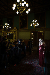 © Licensed to London News Pictures . 07/11/2015 . Manchester , UK . CATHERINE TYLDESLEY at a photocall at Manchester Town Hall ahead of the city's Christmas Lights switch on . Photo credit : Joel Goodman/LNP
