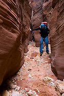 Hiker in sandstone Slot Canyon at Buckskin Gulch, Paria Canyon Vermilion Cliffs Wilderness, Utah