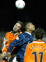 Photo. Chris Ratcliffe<br />Southend v Bristol Rovers. LDV Vans Southern Section. 14/10/2003<br />Rob Quinn and Tes Bramble of Southend go up for the ball