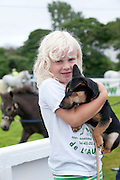 09/08/2012 Repro free first use.   Lucy Donnan and her dog Dotty from Co.Down at the Connemara Pony Show in Clifden County Galway . Photo:Andrew Downes.