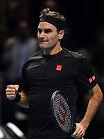 Tennis - 2019 Nitto ATP Finals at The O2 - Day Five<br /> <br /> Singles Group Bjorn Borg: Novak Djokovic (Serbia) vs. Roger Federer (Switzland)<br /> <br /> Roger Federer celebrates his 2 set victory over Novak Djokovic 6-4, 6-3<br /> <br /> COLORSPORT/ASHLEY WESTERN