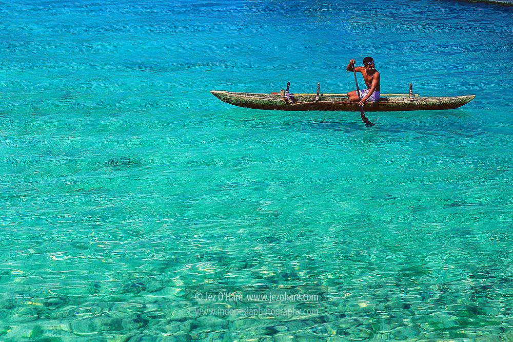 Spear fisherman, Biak, Papua, Indonesia.