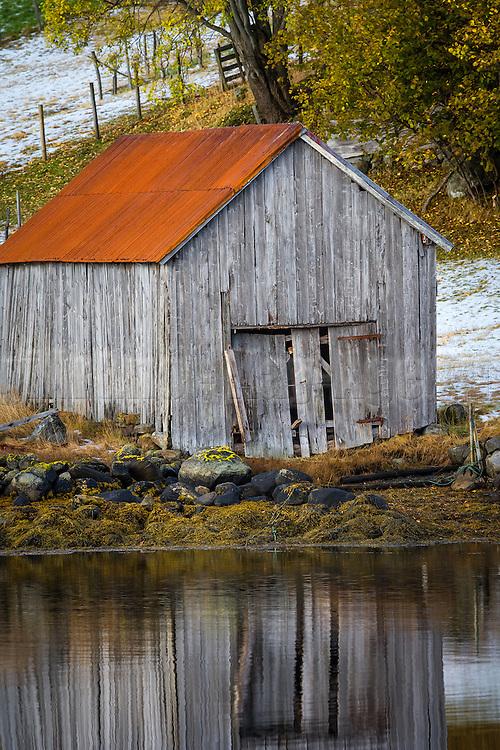 Old boathouse on Dimnøy, Ulstein, Norway   Gammelt naust på Dimnøy, Ulstein.